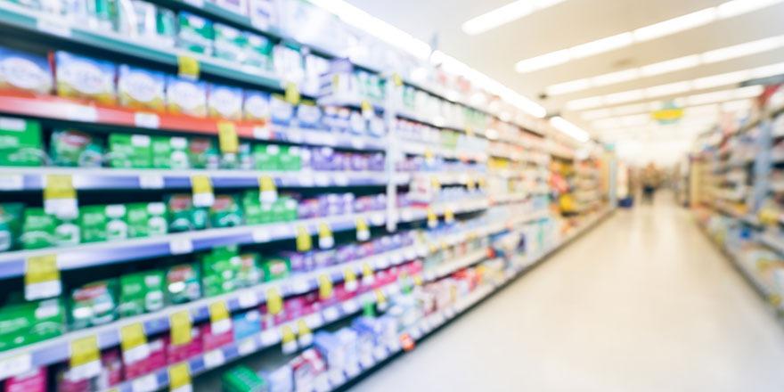 blurry pharmacy aisle