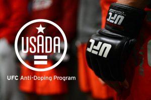 UFC glove next to the UFC Anti-Doping program emblem logo.